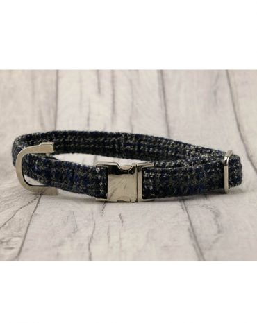blue harris tweed collar