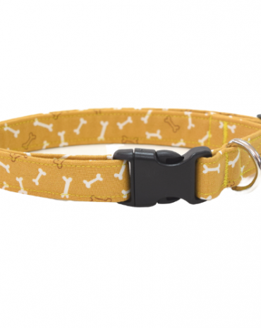 Yellow bones fabric collar