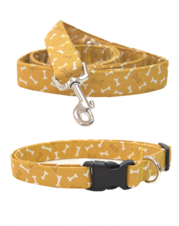 Yellow bones fabric collar and lead