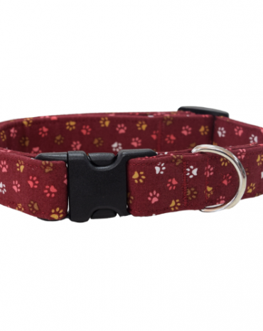 burgandy paws fabric collar