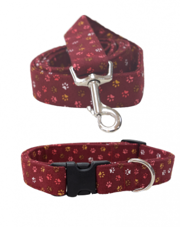 burgandy paws fabric collar and lead