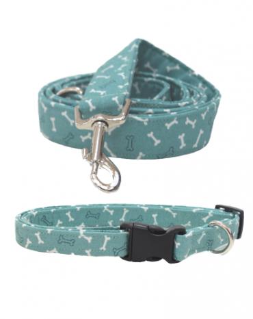 green bones fabric collar and lead