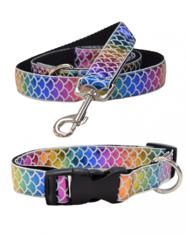 Sparkly rainbow mermaid collar and lead (1)