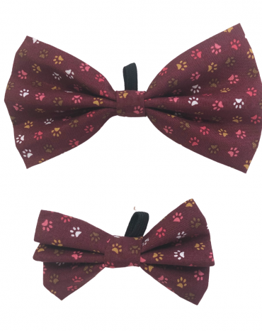Burgundy paws Bow Ties