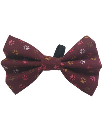 Burgundy paws Bow Ties – small