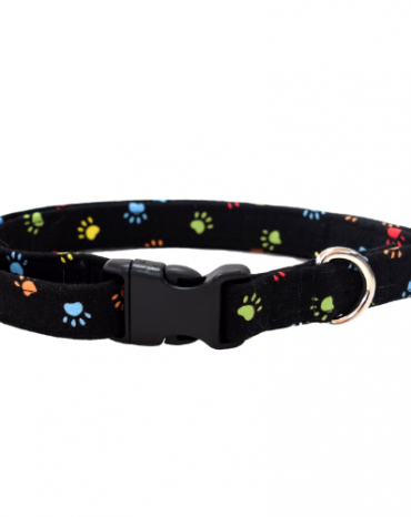 black and multi coloured paws fabric collar