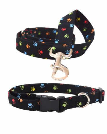 black and multi coloured paws fabric collar and lead
