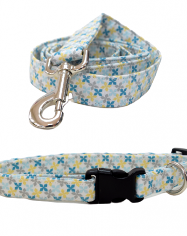 blue geo shape fabric collar and lead