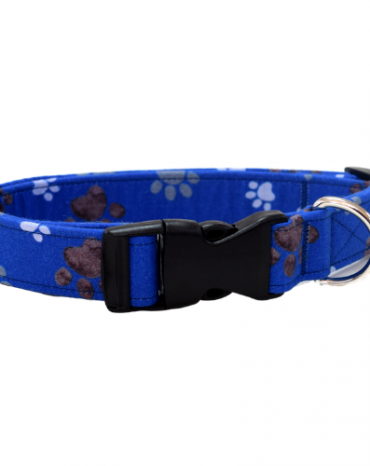 blue paws fabric collar