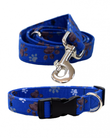blue paws fabric collar and lead