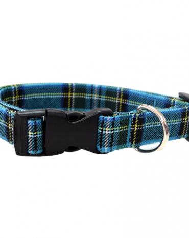 blue tartan fabric collar
