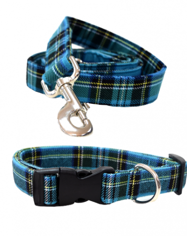 blue tartan fabric collar and lead