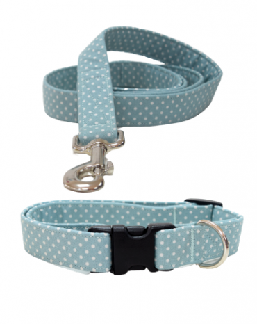 green dots fabric collar and lead