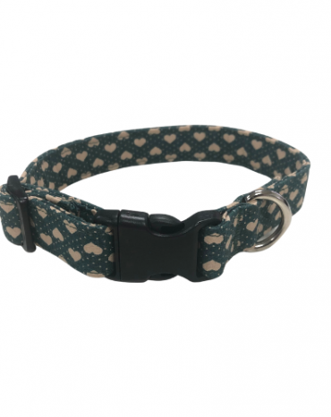 green hearts fabric collar