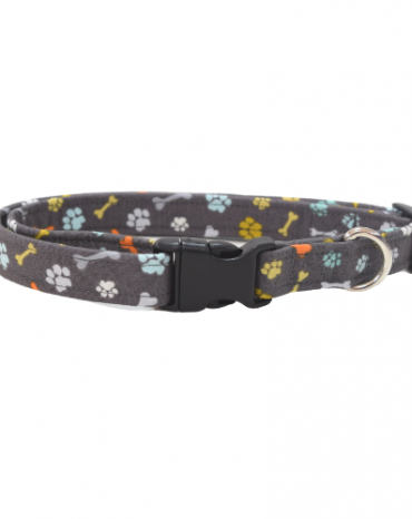 grey paws fabric collar