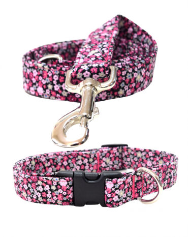 pink flower fabric collar and lead
