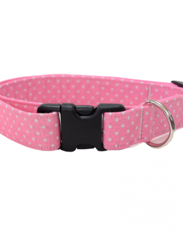 pink spots fabric collar
