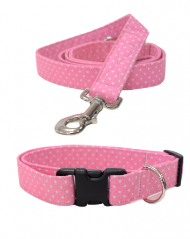 pink spots fabric collar and lead