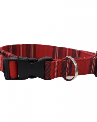 red tartan fabric collar