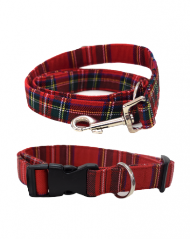 red tartan fabric collar and lead