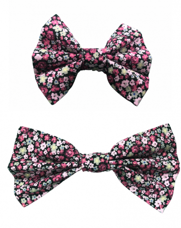 pink flowers bow tie -both